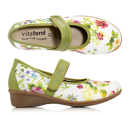VITAFORM Mary-Jane-Ballerina Leder & Stretch 2-farbig oder floral