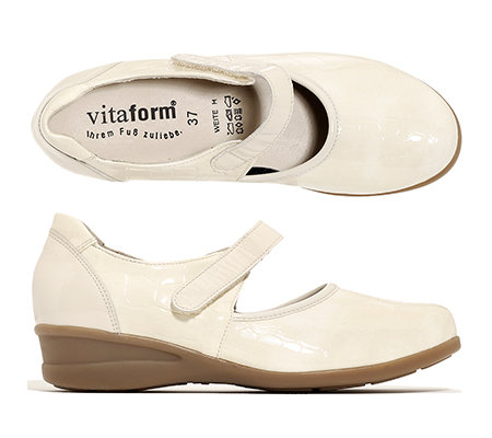 VITAFORM Mary-Jane-Ballerina Leder & Stretch Shock Absorber Keilabsatz ca. 3,5cm