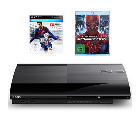 SONY Playstation 3 Spielekonsole, 12GB 3D Blu-ray, Full HD Fifa 14, Spiderman