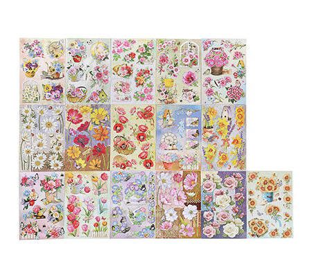 KARIN JITTENMEIER Sticker-Set 3D-Sticker florale Glitter- motive, 16-tlg.