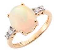 Afrikanischer Opal 3,00ct 4 Brillanten 0,20ct Ring Gold 585