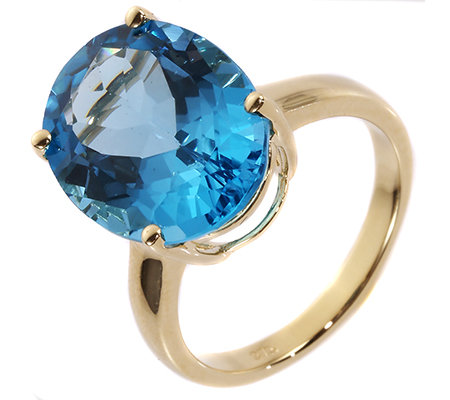Itinga Topas Swissblue 12,00ct Solitär-Ring Gold 375