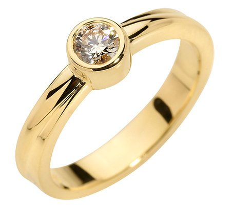 1 Brillant ca.0,25ct. naturfarben/P1 Solitär-Ring Gold 375