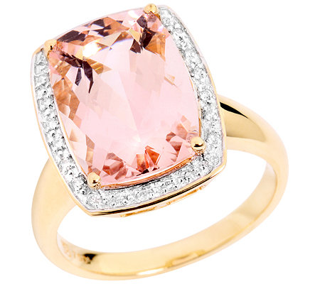 Morganit AAA/4,80ct 24 Brill.0,10ct Entourage-Ring Gold 750