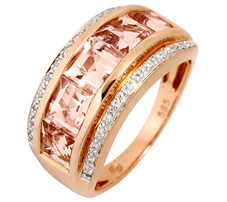 Morganit 1,20ct. Carréeschliff 36 Brillanten 0,10ct. Ring Roségold 585