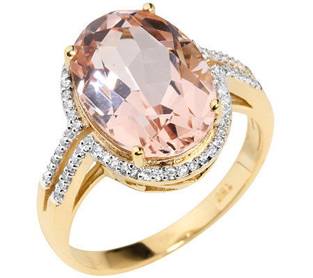 Morganit AAA/5,00ct 66 Brill.0,20ct Entourage-Ring Gold 750