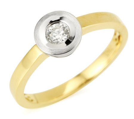 Solitär-Ring Brillant Weiß/SI ca. 0,15ct Platin 950/Gold 750