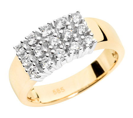 15 Brillanten zus.ca.0,50ct. Weiß/P1 Cocktail-Ring Gold 585