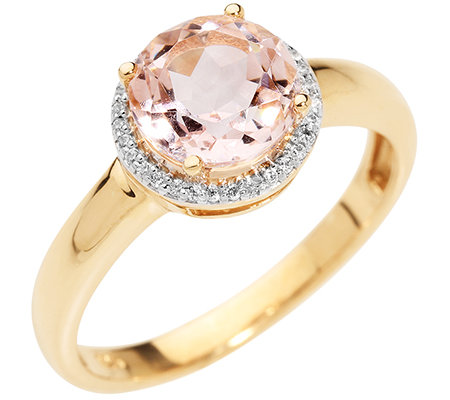 Morganit AAA/1,75ct 31 Brill.0,10ct Entourage-Ring Gold 585