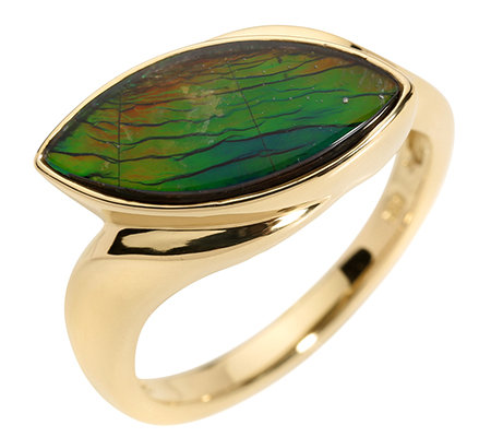 Kanadischer Ammolith Cabochon, Navette 16x7mm Ring Gold 375