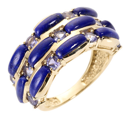 Golden Lapislazuli Tansanit 1,37ct Schliffmix Ring Gold 375