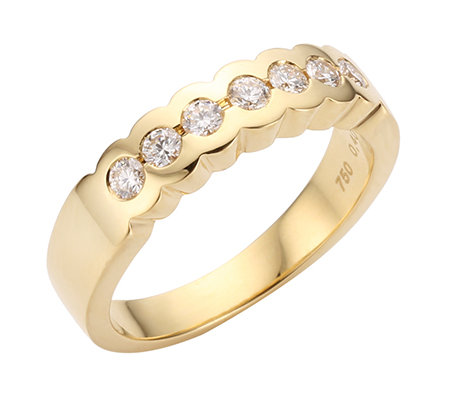 7 Brillanten zus.ca.0,40ct. hf.Weiß/lupenrein Memoire-Ring Gold 750