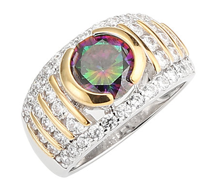 DIAMONIQUE® MYSTIC FIRE = 3,02ct Cocktail-Ring Silber bicolor
