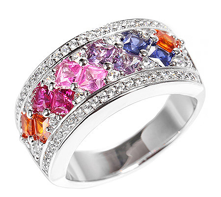 DIAMONIQUE® = 1,79ct Schliffmix Cocktail-Ring Silber rhodiniert