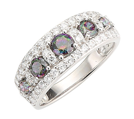 DIAMONIQUE® MYSTIC FIRE = 1,19ct Ring Silber rhodiniert