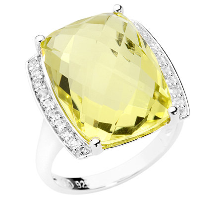 Lemon Quarz Checkerboardschliff Weißtopas 13,00ct. Cocktail-Ring Silber 925