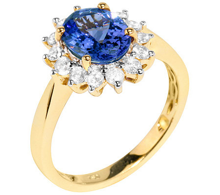 1st Class Tansanit AAA/1,50ct 14 Brill. 0,50ct Entourage-Ring Gold 750