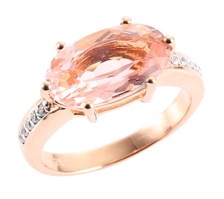 Morganit AAA/4,00ct 10 Brill.0,10ct Ring Roségold 585