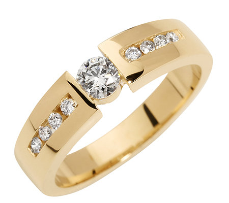 9 Brillanten zus. ca. 0,40ct. get.Weiß/lupenrein Ring Gold 585