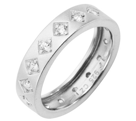DIAMONIQUE® Eternity-Ring mind.15 Steine=0,30ct Brillantschliff Silber 925,rhodiniert