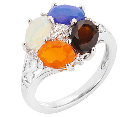Opal multicolor oval 1,60ct Weißtopas 0,05ct Ring Silber rhodiniert
