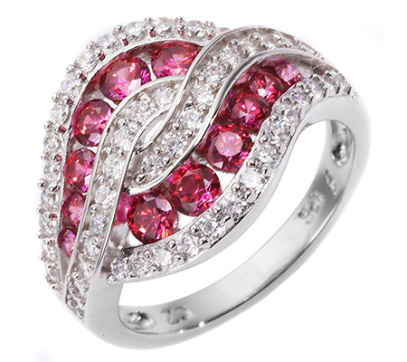 DIAMONIQUE® WILD BERRY = 1,26ct Cocktail-Ring Silber rhodiniert