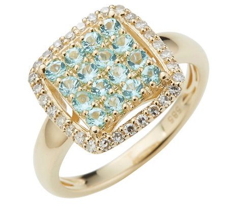 Paraiba Turmalin Ring Rundschliff 0,44ct Diamanten 0,20ct Gold 585