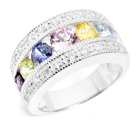 DIAMONIQUE Cocktail-Ring 29 Steine =2,46ct. multicolor Silber 925,rhodiniert