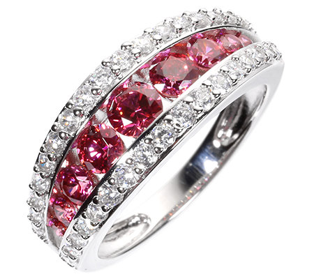 DIAMONIQUE® WILD BERRY = 1,37ct Rivière-Ring Silber rhodiniert