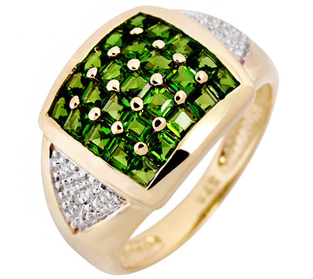 Russischer Chromdiopsid 1,25ct. 2 Diamanten 0,008ct. Ring Gold 375