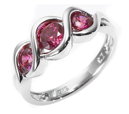 DIAMONIQUE® WILD BERRY = 1,00ct Trilogie-Ring Silber rhodiniert