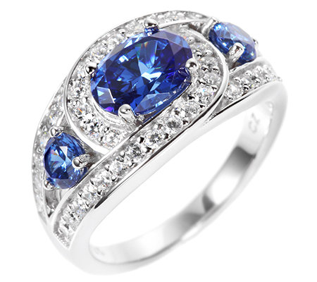 DIAMONIQUE® ROYAL BLUE = 2,62ct Cocktail-Ring Silber rhodiniert