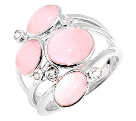 Pink Jade oval Cabochon Weisstopase Cocktail-Ring Silber 925,rhodiniert