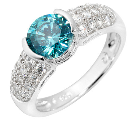 DIAMONIQUE® CARIBBEAN BLUE 35 Steine =1,90ct. Ring Silber 925,rhodiniert