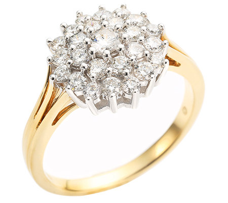 CANADIAN DIAMONDS 25 Brillanten zus.ca.1,00ct. feines Weiß/SI2 Ring, Gold 750