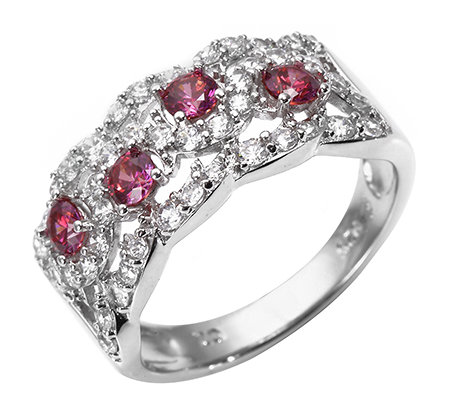 DIAMONIQUE® WILD BERRY = 0,93ct Cocktail-Ring Silber rhodiniert