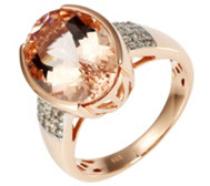 Morganit Ring AAA / 5,00ct Brillanten 0,12ct Rosegold 585