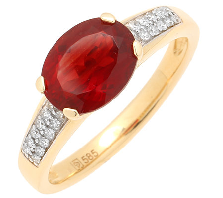 Tibetanit 1,30ct. Tibet-Andesin Diamanten 0,10ct. Ring, Ovalschliff Gold 585