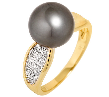 PERLFEKT Tahitiperle 9 Brillanten 0,06ct. Ring Gold 585