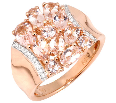 Morganit 1,90ct. Schliffmix 22 Brillanten 0,06ct. Ring Roségold 585
