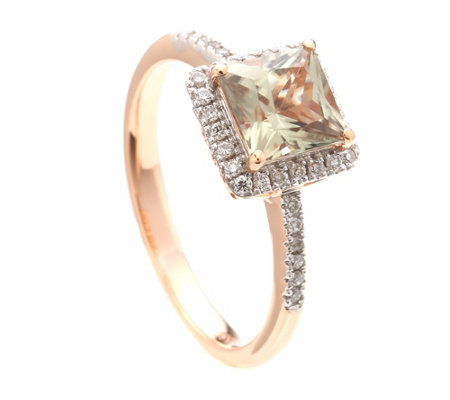Diaspor 1,00ct Ring Princessschliff Brillanten 0,17ct Roségold 585