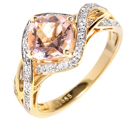 Morganit AAA/1,20ct 12 Brill.0,05ct Ring Gold 585