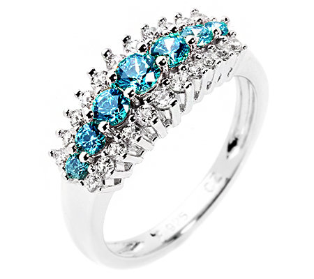 DIAMONIQUE® CARIBBEAN BLUE 29 Steine =0,80ct. Cocktail-Ring Silber 925,rhodiniert