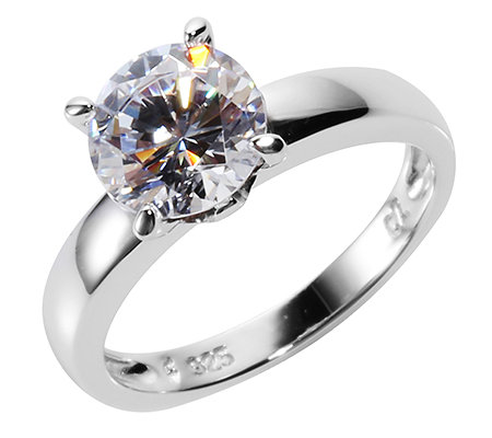 DIAMONIQUE® Ring 1 Stein=2,00ct. Brillantschliff Silber 925,rhodiniert