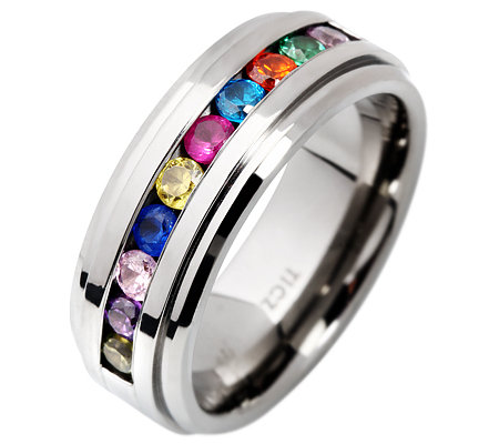 DIAMONIQUE TITAN 10 Steine =0,30ct. Eternity-Ring multicolor
