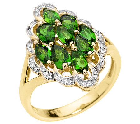 Russischer Chromdiopsid 1,20ct. 12 Diamanten 0,04ct. Rauten-Ring Gold 333