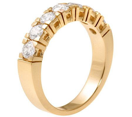 7 Brillanten zus. ca.1,00ct. get.Weiß/lupenrein Memoire-Ring Gold 585