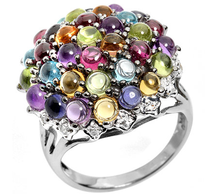 Multicolor Cabochon 6,26ct. facettiert 0,12ct. Cocktail-Ring Silber 925
