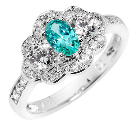 DIAMONIQUE® CARIBBEAN BLUE 31 Steine =1,26ct. Ring Silber 925,rhodiniert