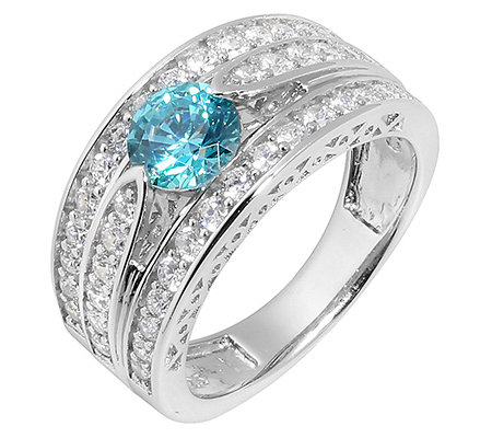 DIAMONIQUE® CARIBBEAN BLUE 53 Steine =1,56ct. Cocktail-Ring Silber 925,rhod